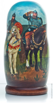 180 mm Russian Tales by Vasnetsov (Three Bogatyrs, Alyonushka) hand painted on wooden Russian Matryoshka doll 5 pcs (by Alexander Famous Painting Studio)