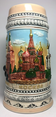 190 mm Moscow Snt Basil Cathedral and Kremlin Beer Mug (by Volga Pottery)