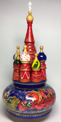 230 mm Saint Basil's Cathedral Russian Troika Music Box hand painted Wooden Music Box (by Nightingale Crafts)