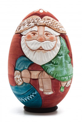 120 mm Santa Claus Hand Carved and Painted Matryoshka Doll 3pcs Egg shape (by Sergey Carved Wooden Dolls Studio)