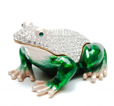 50 mm Frog with the Rhinestones Big Jewellery Box