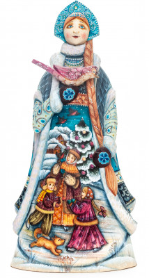 290 mm Snowmaiden Princess with a Bird with hand painted Playing Children Wooden Statue (by Karpova Nadezda)