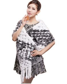 U 40cm Knitted Rabbit Fur Stole