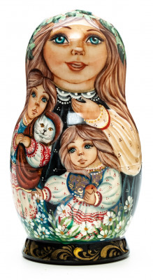 130 mm Children hand painted on wooden Matryoshka doll 5 pcs (by A Studio)