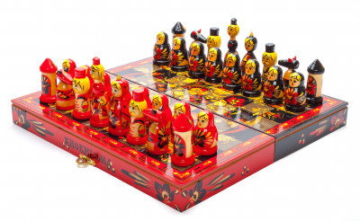 Wooden Chess Board with Khokhloma Art Hand Painted Chess Pieces