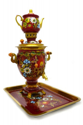 Summer Hand Painted Electric Samovar Kettle with Teapot and Tray