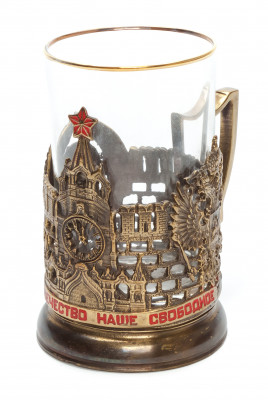 Moscow Kremlin Brass Tea Glass Holder with Faceted Glass (by Kolchugino)