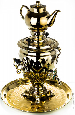 Russian Electric Samovar Kettle with Teapot and Tray