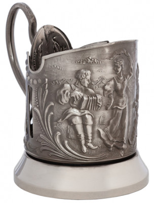 Fair Dance of Russian Girls Nickel Plated Brass Tea Glass Holder with Faceted Glass (by Kolchugino)