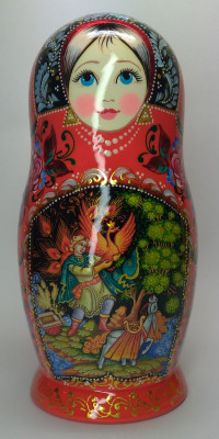200 mm Firebird hand painted on wooden Matryoshka doll 5 pcs (by A Studio)