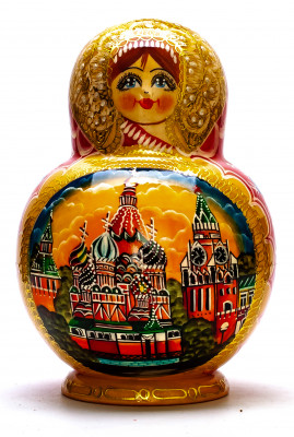 200 mm Moscow Cathedrals Hand painted Matryoshka doll 20 pcs inside round shape (by Valery Studio)