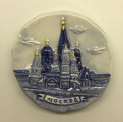 Attractions of Moscow Gzel Plate Fridge Magnet