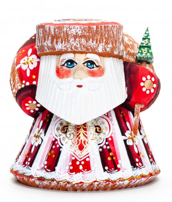 100 mm Santa with a Christmas Bag Carved Wood Hand Painted Collectible Figurine (by Sergey Workshop)
