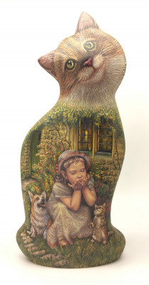 Hand Carved and Painted Cat with Little Girl and dog painting (by Vladislav Toys)
