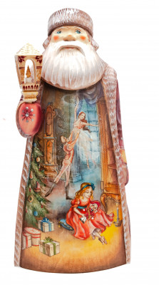 250 mm Santa Claus with a Lamp with handpainted Nutcracker Wooden Carved Statue (by Natalia Nikitina Workshop)