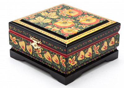 Khokhloma Painting Jewellery Wooden Box 120x115 mm