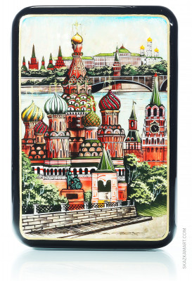 110x150 Moscow Kremlin at Summer time hand painted lacquered jewelery box (by Tatiana Shkatulka Crafts)