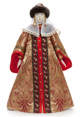 The Princess in a Winter Dress and Fur Hat hand-sewn Porcelain Doll - 21 Inches