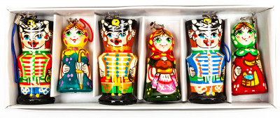 220x70 mm Russian Hussars with Wives Wooden Christmas Ornaments set of 6 pcs (by Andrey Studio)