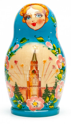 140 mm Moscow Kremlin hand painted on Wooden Matryoshka doll 5 pcs (by Valeria Crafts)