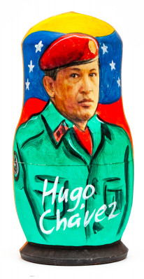 120 mm Hugo Chavez Handmade wooden Matryoshka Nesting Doll 5 pcs (by 3A Studio)