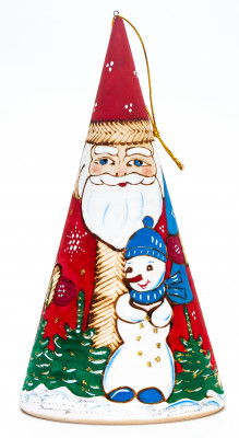 170 mm Santa Claus Hand Carved and Painted Matryoshka Pyramide shape 5 pcs inside (by Sergey Carved Wooden Dolls Studio)