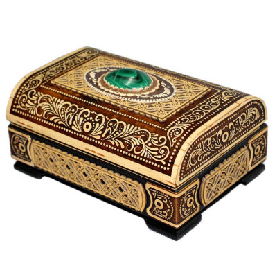 120x85 mm Siberian Patterns hand made Birchbark Jewelry Box with Malachite stone (by Birch Gifts)