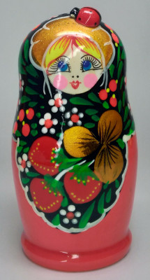 105mm Red Flowers Art Matryoshka Doll 5pcs (by Victor Maidan)