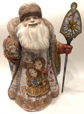 Hand Carved and Painted Santa Claus vs Winter Story