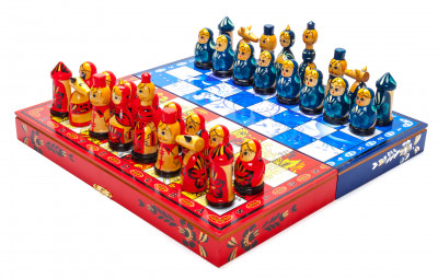 Wooden Chess Board with Khokhloma and Gzhel Art Hand Painted Chess Pieces
