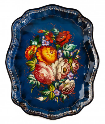 370x450 mm Zhostovo Patterns hand painted and lacquered by Blagova Metal Forged Tray (by Lada Crafts)