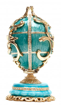 130 mm Double Ornament Blue Easter Egg with the Basket