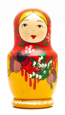 110 mm Mistress with Bullfinches and a Spruce Branch hand painted Traditional Russian Wooden Matryoshka doll 5 pcs (by Sergey Malyutin)