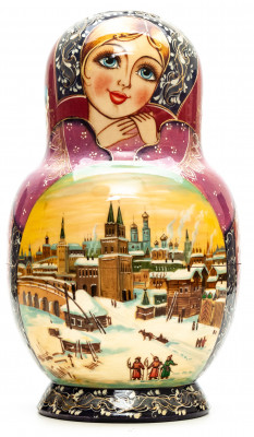 230mm Moscow Kremlin Matryoshka round Doll 10pcs (by Skazka)