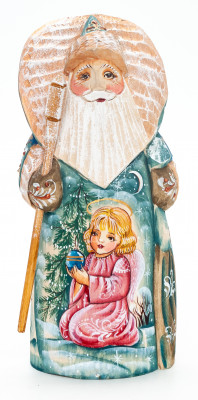 180 mm Santa Claus with a Bag and a Magic Staff with handpainted Girl Wooden Carved Statue (by Igor Carved Wooden Figures Studio)