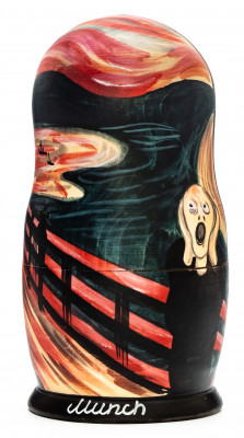 180 mm Scream by Munk hand painted on wooden Matryoshka doll 5 pcs (by Alexander Famous Paintings Studio)