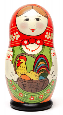 160 mm Maiden with the Basket with Cockerel inside hand painted Traditional Russian Wooden Matryoshka doll 5 pcs (by Sergey Malyutin)