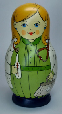 125 mm Doctor hand painted Traditional Russian Wooden Matryoshka doll 5 pcs (by Igor Malyutin)
