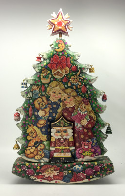 Children and Nutcraker Hand Painted Carved Wood Christams Tree with Ornaments (by Vladislav Toays)
