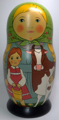 250 mm Mother with Daughter and Cow hand painted Traditional Russian Wooden Matryoshka doll 10 pcs (by Igor Malyutin)