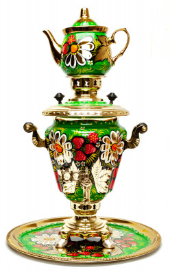 Daisies Hand Painted Electric Samovar Kettlewith Teapot and Tray