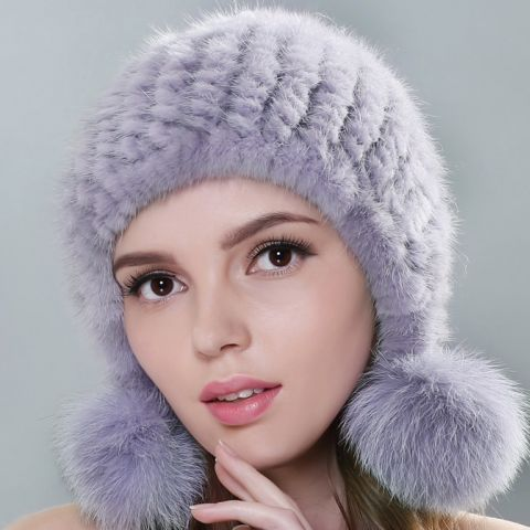 Knitted Mink Hat with Pompons, grey color