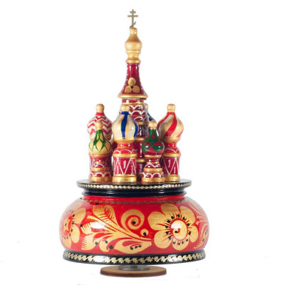 210 mm Saint Basil's Cathedral Khokhloma Art hand painted Wooden Music Box (by Nightingale Crafts)