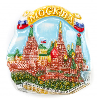 85x90 mm Moscow Snt Basil Cathedral and Kremlin Ceramic Fridge Magnet (by Skazka)