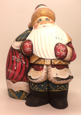 170 mm Santa Claus with a Huge Bag of Gifts Carved Wooden Figure hand-painted (by Igor Wooden Carvings Studio)