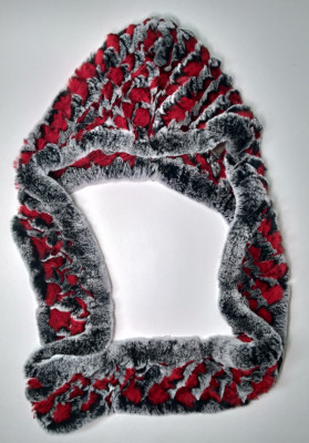 Rabbit Hair Scarf With Hood Red/White/Black