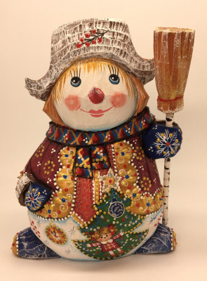 170 mm Snowman hand carved and painted wooden figure (by Natalia Workshop)