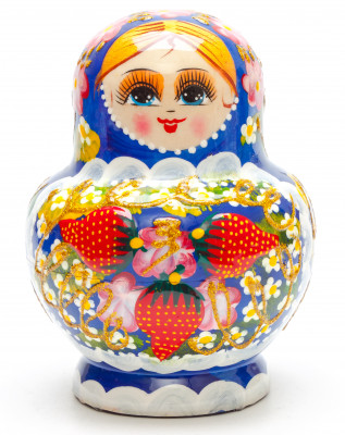 130 mm Strawberries 3D hand painted on wooden Matryoshka 10 pcs (by Sergey Strawberry)