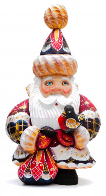 200 mm Santa Claus with a bird and a bag with gifts (by Igor Carved Wooden Figures Studio)