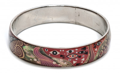 70x15 mm Abstrastion on Nacre hand painted on steel Bracelet (by Skazka)